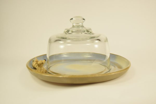 Osteklokke keramik bund med dekorative mus